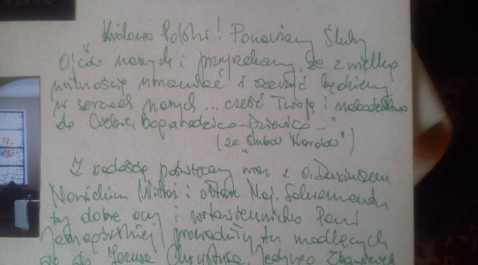 Wpis definitora generalnego o. M. Tabulskiego OSPPE do kroniki kościoła Św. Ap Piotrai Pawła