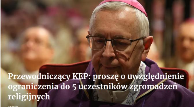 Komunikat Przewodniczącego Konferencji Episkopatu Polski w związku z kolejnym ograniczeniem liczby uczestników zgromadzeń